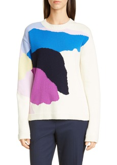 St. John Collection Abstract Floral Intarsia Wool & Silk Sweater