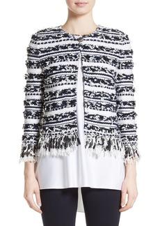St. John Collection Adel Stripe Fringe Jacket