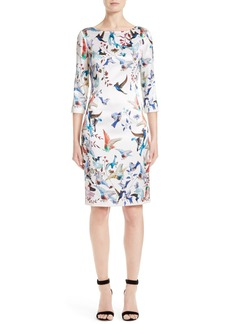 St. John Collection African Sparrows Print Stretch Silk Dress