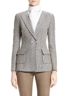 St. John Collection Aluna Tweed Knit Double Breasted Jacket