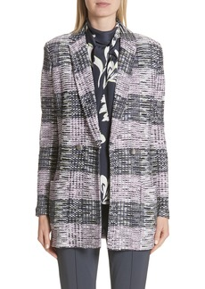 St. John Collection Anna Plaid Double Breasted Blazer