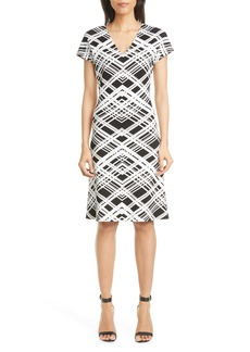 St. John Collection Architectural Grid Jacquard Knit Dress
