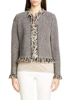 St. John Collection Artisanal Basket Inlay Jacquard Knit Jacket