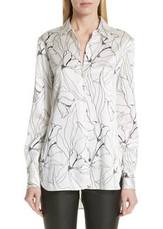 St. John Collection Artisanal Floral Stretch Silk Blouse