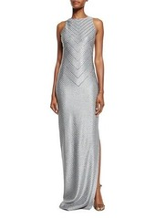 St. John Collection Asha Chevron-Sequined Sleeveless Gown