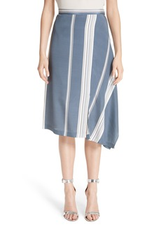 St. John Collection Asymmetrical Stretch-Silk Satin Skirt