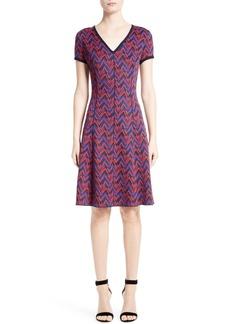 St. John Collection Aziza Zigzag Jacquard Knit Dress