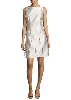 St. John Collection Bateau-Neck Hand-Beaded Cocktail Dress w/ Feathers