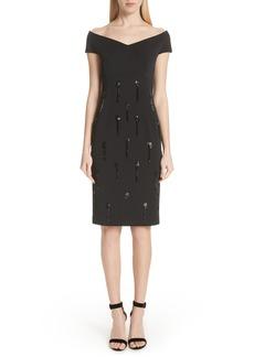 St. John Collection Beaded Tassel Sheath Dress