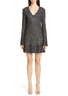 St. John Collection Bejeweled Long Sleeve Texture Knit Cocktail Dress
