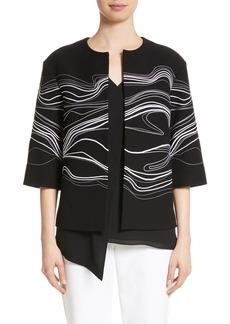 St. John Collection Bella Brushstroke Double Weave Jacket