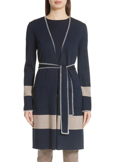 St. John Collection Belted Milano Knit Sweater Jacket