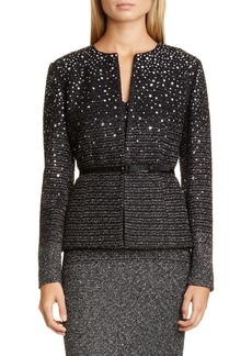 St. John Collection Belted Ombré Metallic Tweed Jacket