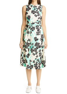 St. John Collection Belted Stretch Twill A-Line Dress