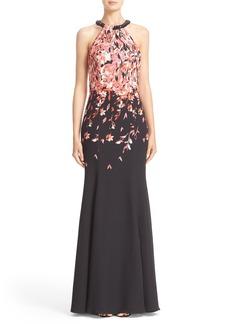 St. John Collection Black Flamingo Dégradé Print Gown