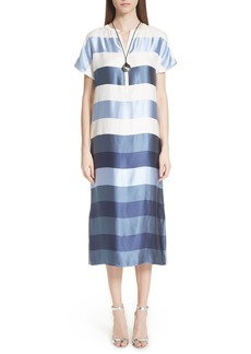 St. John Collection Block Stripe Twill Dress
