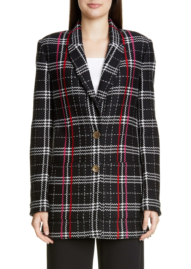 St. John Collection Bold Plaid Wool Blend Jacket