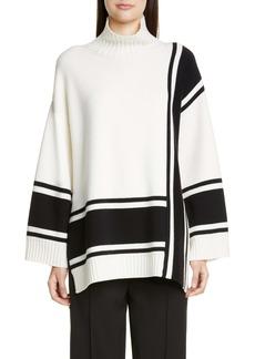 St. John Collection Bold Stripe Mock Neck Sweater