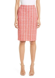 St. John Collection Bold Vertical Tweed Knit Skirt
