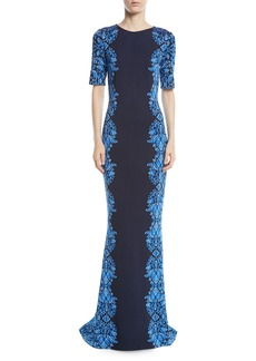 St. John Brocade-Graphic Half-Sleeve Knit Gown