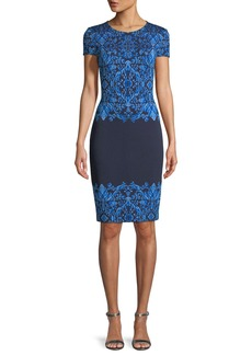 St. John Brocade Graphic Short-Sleeve Knit Dress