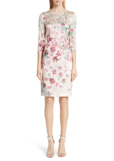 St. John Collection Brushstroke Floral Stretch Silk Dress
