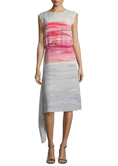 St. John Brushstroke-Print Satin Silk Asymmetric Dress