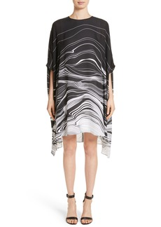 St. John Collection Brushstroke Print Silk Satin Dress