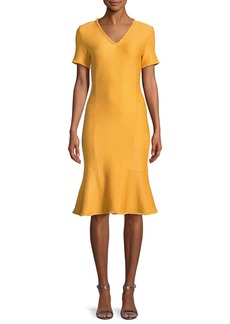 St. John Caris Fringe-Trim Knit Short-Sleeve Dress