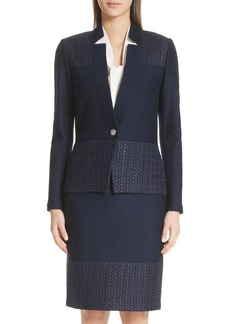 St. John Collection Caris Geo Lace Trim Knit Jacket