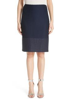 St. John Collection Caris Geo Lace Trim Knit Pencil Skirt