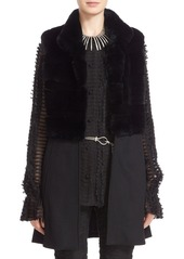 St. John Collection Cashmere Blend & Genuine Rex Rabbit Fur Vest