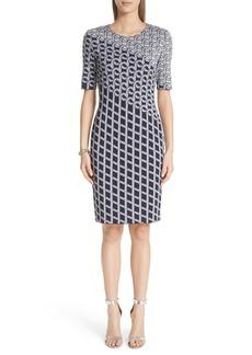 St. John Collection Chain Swirl Jacquard Knit Dress