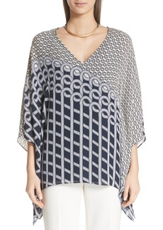 St. John Collection Chain Swirl Print Silk Georgette Top