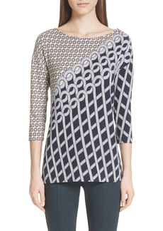 St. John Collection Chain Swirl Print Top