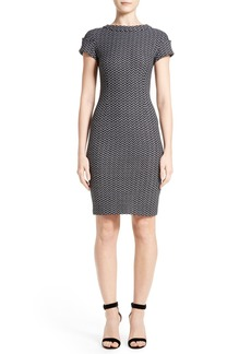 St. John Collection Chevron Tweed Sheath Dress
