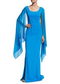 St. John Classic Cady Cape-Sleeve Column Gown