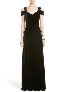 St. John Collection Cold Shoulder Velvet Gown