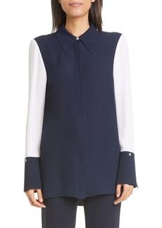 St. John Collection Colorblock Silk Satin Georgette Shirt