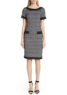 St. John Collection Contrast Trim Metallic Knit Dress