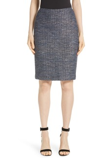 St. John Collection Copper Sequin Tweed Knit Skirt
