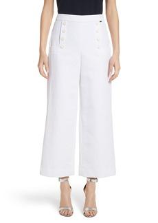 St. John Collection Cotton & Linen Crop Wide Leg Pants