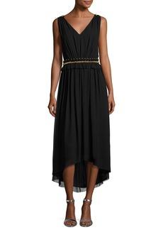 St. John Collection Crinkled Georgette V-Neck Picot-Edge Dress