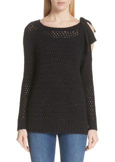 St. John Collection Crisscross Open Stitch Cold Shoulder Sweater