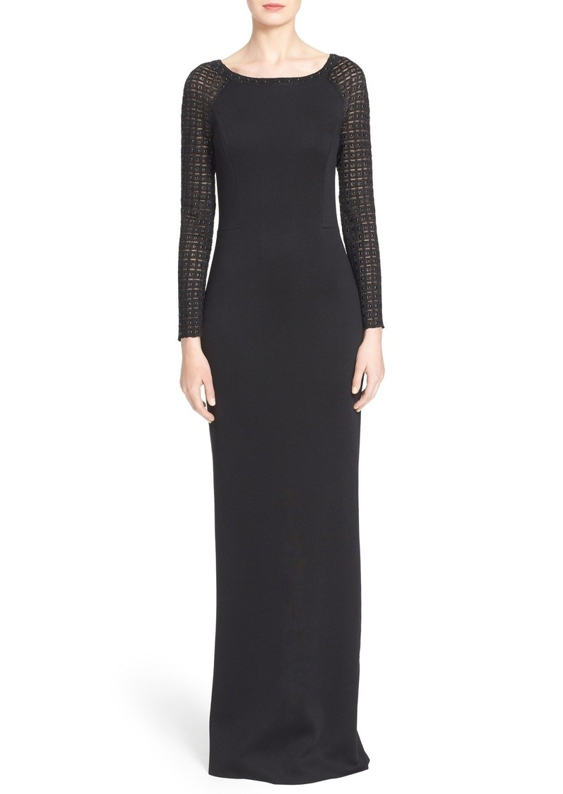 St. John Collection Crystal & Glass Pearl Embellished Knit Gown