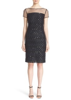 St. John Collection Crystal Embellished Metallic Dress