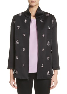 St. John Collection Crystal Embellished Satin Jacket