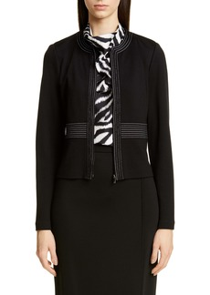 St. John Collection Defined Topstitching Milano Knit Jacket