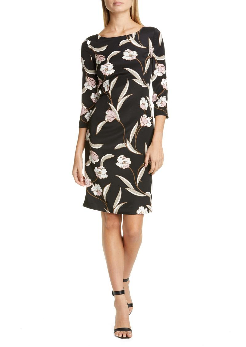 St. John Collection Desert Floral Stretch Silk Dress