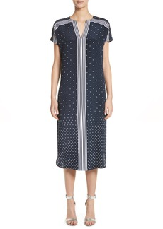 St. John Collection Dot & Stripe Stretch Dress